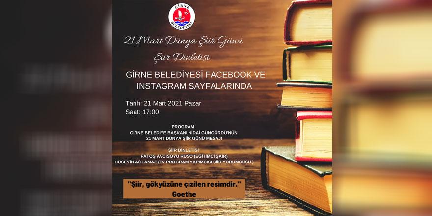 Girne Belediyesi dijital ortamda şiir dinletisi etkinliği gerçekleştirecek