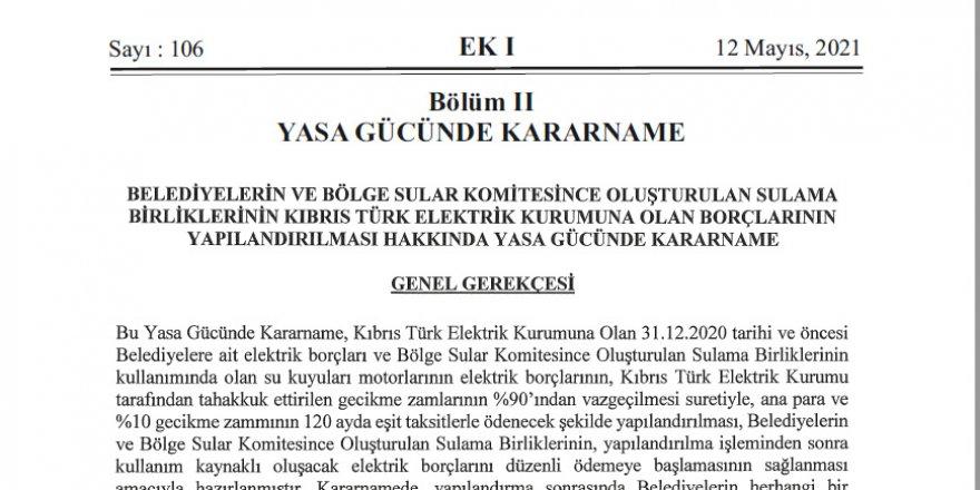 Belediyeler ve su birimlerinin KIB-TEK'e olan borçları yapılandırıldı