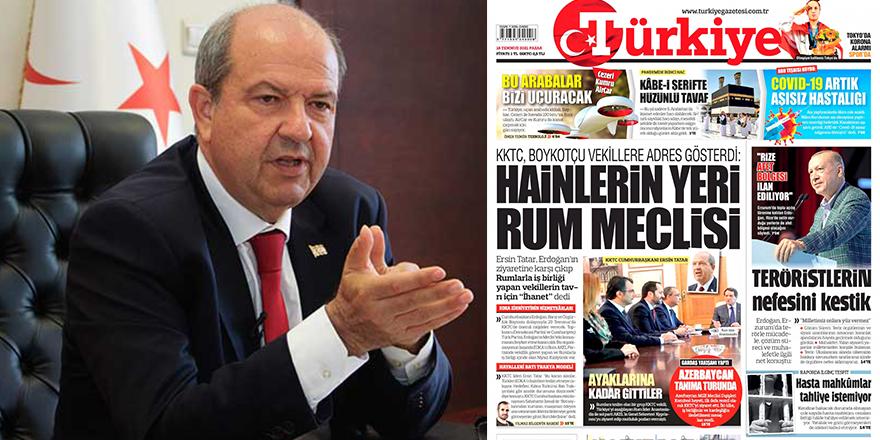 "Cumhurbaşkanı Tatar: ""Tarihî ihanet"""